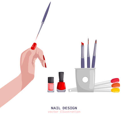 Hands and nail treatment image Illustration