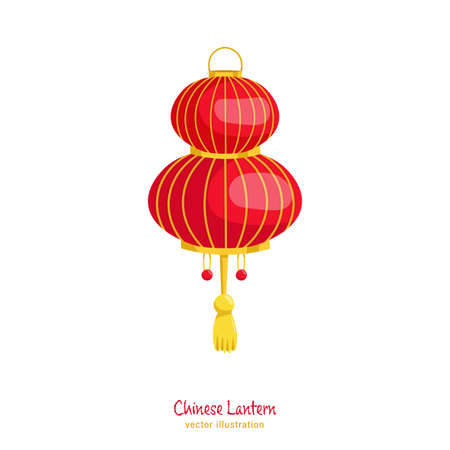 Chinese new year lantern. Traditional decoration. Greeting card, poster, postcard element. Celebration graphic design. Editable vector illustration in flat cartoon style isolated on white background Banque d'images - 155038371
