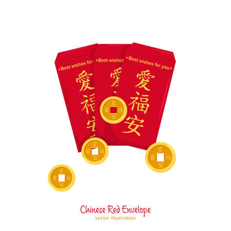 New year red envelope. Love, happiness, luck in Chinese language. Greeting card, postcard element. Celebration graphic design. Vector illustration in flat cartoon style isolated on white background
