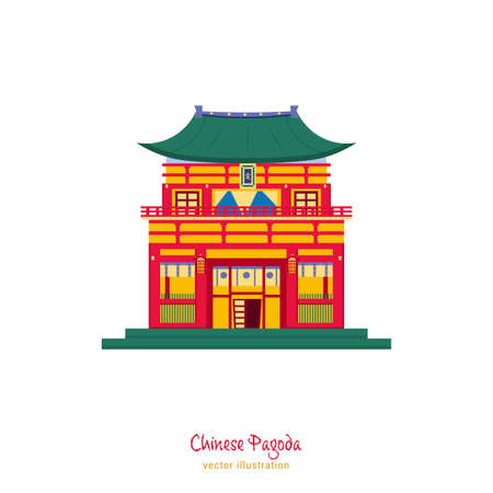 Chinese traditional pagoda. New Year decoration. Greeting card, poster, postcard element. Celebration graphic design. Editable vector illustration in flat cartoon style isolated on white background Illustration