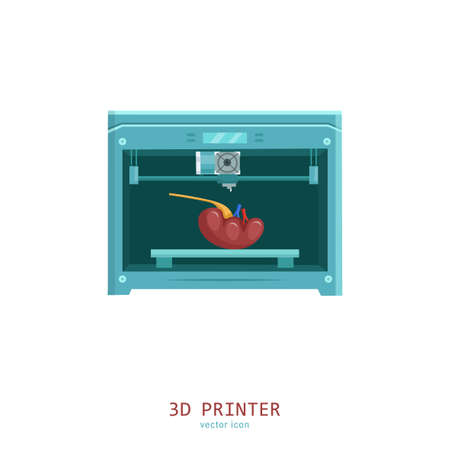 3D medical printer. Printing a new kidney. Pictogram, sign, icon. Future medicine concept. Editable vector illustration in flat cartoon style isolated on white background. Modern graphic design.