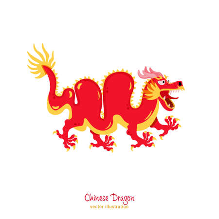 Chinese new year dragon. Mythological character. Greeting card, poster, postcard element. Celebration graphic design. Editable vector illustration in flat cartoon style isolated on white background