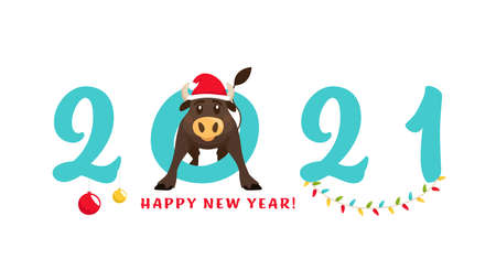 New year postcard. Chinese year of the bull. 2021. Greeting card, poster element with a funny ox character in a flat cartoon style. Editable vector illustration isolated on a white background.