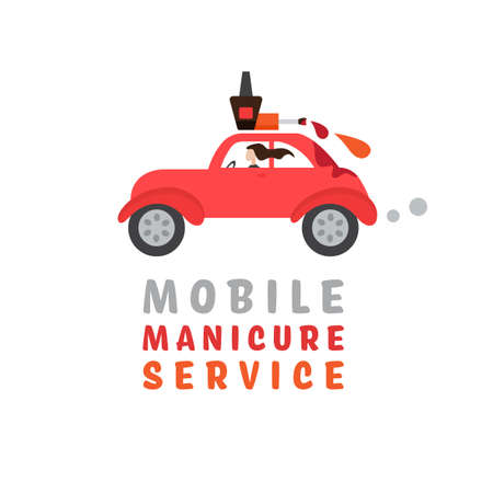 Mobile beauty salon. Manicure in your place. Hands and nail treatment on wheels. House-call pedicure service. Vector illustration in a cartoon style isolated on wight background.