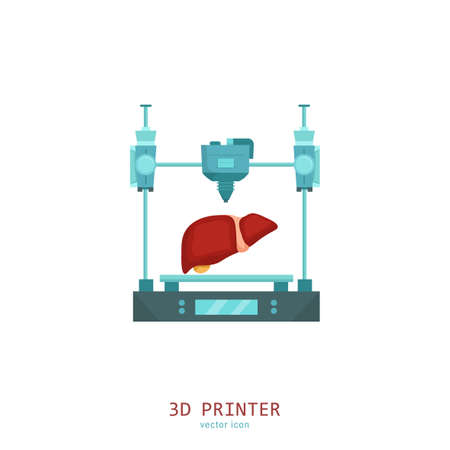 3D medical printer. Printing a new liver. Pictogram, sign, icon. Future medicine concept. Editable vector illustration in flat cartoon style isolated on white background. Modern graphic design. Illustration
