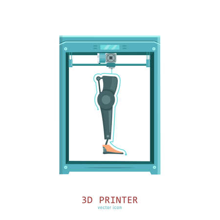 3D medical printer. Printing a new leg.Pictogram, sign, icon. Future medicine concept. Editable vector illustration in flat cartoon style isolated on white background. Modern graphic design. Banque d'images - 155038430