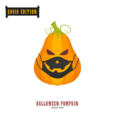 Halloween covid pumpkin. Funny character in a face mask. Party decoration. Coronavirus holiday celebration. Editable vector illustration in flat cartoon style isolated on white background Banque d'images - 155038433