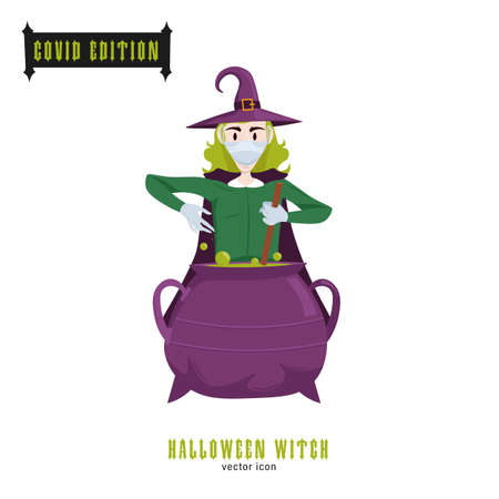 Halloween covid witch. Funny character in a face mask. Party decoration. Coronavirus holiday celebration. Editable vector illustration in flat cartoon style isolated on white background Banque d'images - 155038436