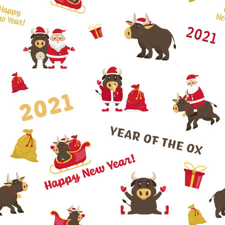 Santa Bull seamless pattern in a simple flat cartoon style. Chinese new year. Funny ox character. Trendy fabric, textile, texture, wallpaper, wrapping paper. Vector illustration on white background