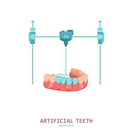 3D medical printer. Printing a new tooth. Pictogram, sign, icon. Future medicine concept. Editable vector illustration in flat cartoon style isolated on white background. Modern graphic design.