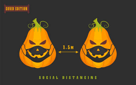 Halloween covid pumpkin. Funny character in a face mask. Party decoration. Coronavirus holiday celebration. Editable vector illustration in flat cartoon style isolated on dark background