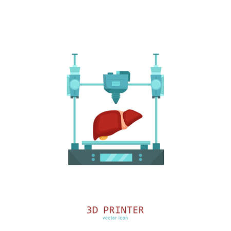 3D medical printer. Printing a new liver. Pictogram, sign, icon. Future medicine concept. Editable vector illustration in flat cartoon style isolated on white background. Modern graphic design. Banque d'images - 154948911