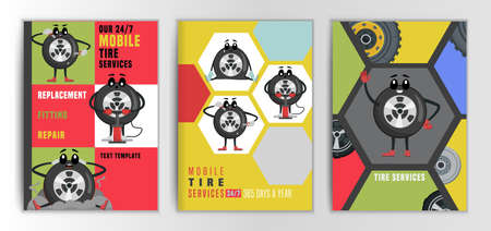 Tire Brochure Wheel Character Banque d'images - 155434169