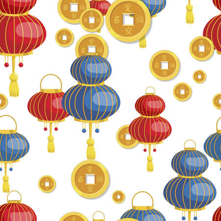Lantern and coins pattern