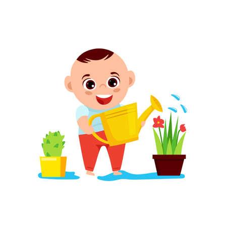 Baby boy and a flower Иллюстрация
