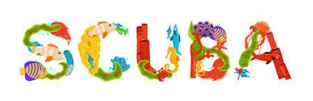 Creative scuba lettering. Unique letters. Vector illustration