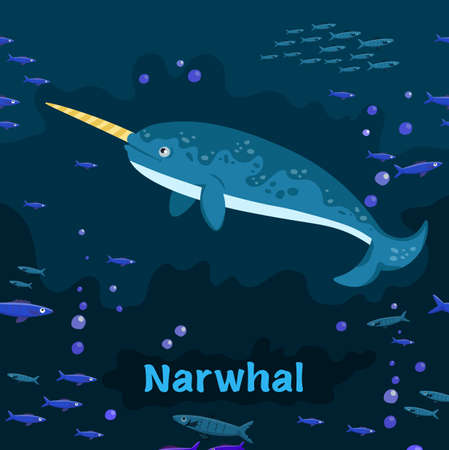 Narwhal. Endangered medium-sized toothed whale. Vector illustration Ilustrace