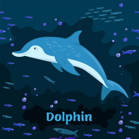 Dolphin. Endangered mammals species. Threatened animals illustration.