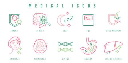 Medical icons set. Outlined signs in modern style