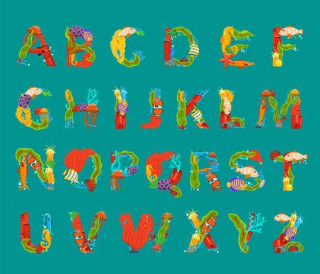 Sea alphabet. Uppercase letters set. Creative lettering.