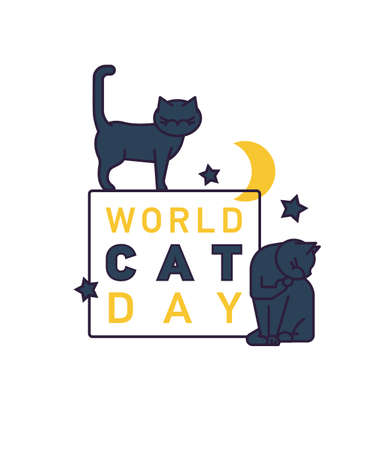 International cat day. World event. Editable vector illistration