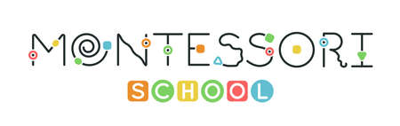 Montessori logotype. Public school and kindergarten logo.