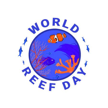 International world reef day. Editable vector illustration