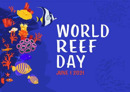 International world reef day poster. Vector illustration