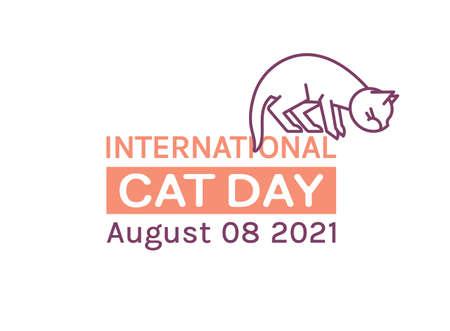 International cat day logo. Editable vector illustration Ilustrace