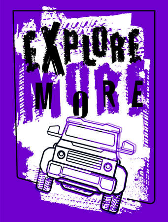 Off-Road poster with hand drawn grunge lettering.