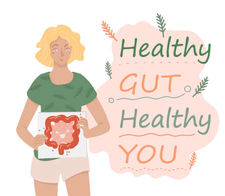 Why gut health matters. Horizontal vector poster. Ilustrace