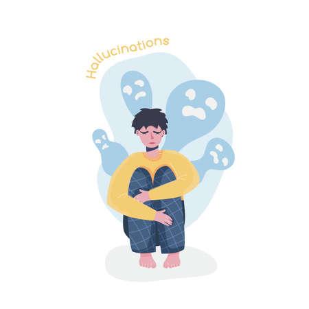 Schizophrenia symptoms collection. Editable isolated vector illustration.