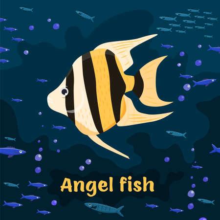 Angel fish. Editable vector illustration in colorful cartoon style.