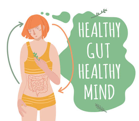 Healthy gut healthy mind. Landscape vector poster