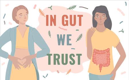 In gut we trust. Landscape vector poster