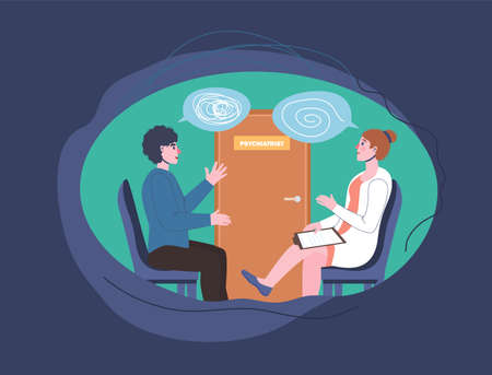 Psychologist, psychotherapist appointment image. Patient talking with a doctor.