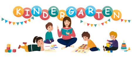 Children in a kindergarten. Group behavior concept