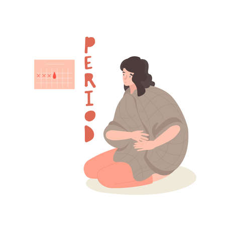 Young woman sitting in a blanket on the floor. PMS, regular periods concept.