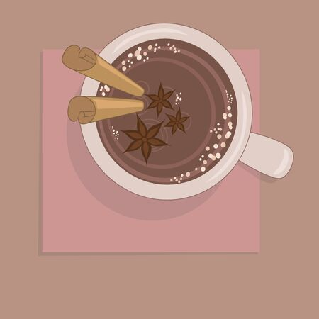 Cup of hot chocolate with spices Stock Vector - 17980735