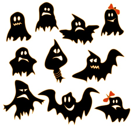 Set of funny cartoon ghosts Vector