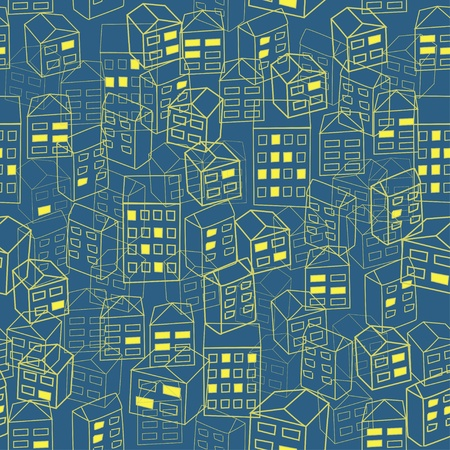 Seamless pattern with sketch houses  Night city Vector