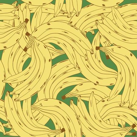 comiendo platano: Patrón sin fisuras con racimo de plátanos maduros en el fondo verde Vectores