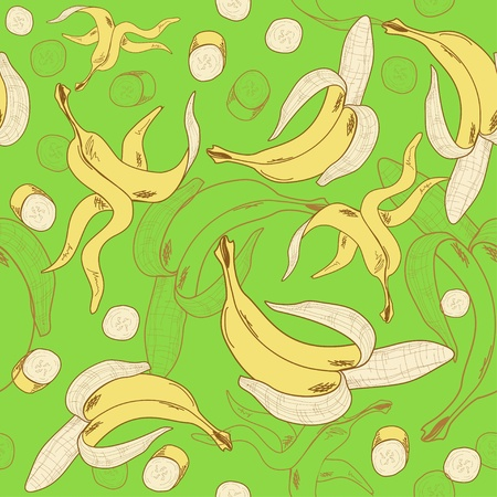 banana peel: Colored and hand drawn bananas seamless pattern on the green background