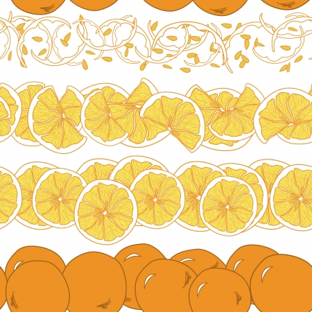 leavings: Seamless pattern with whole and slices of oranges