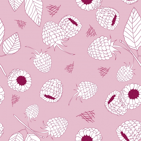 raspberry pink: Hand drawn raspberry seamless pattern on the pink background Illustration