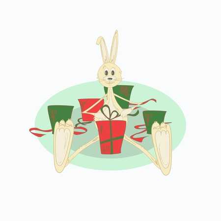 Illustration of christmas rabbit with presents Stock Vector - 17980756