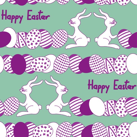 Seamless pattern with cartoon easter rabbit, eggs and text happy easter Stock Vector - 18264932