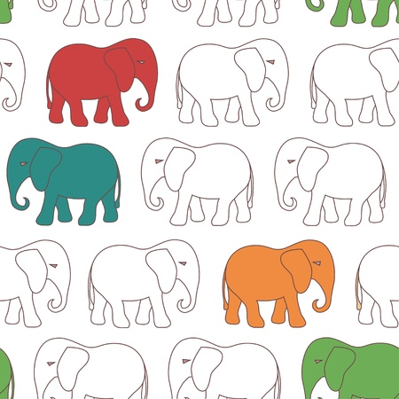 Seamless pattern with colorful cartoon elephant on white background Vector