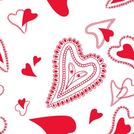 Seamless pattern with abstract red hearts on the white background Vector