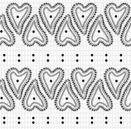 Seamless pattern of black lace ornament on white background Vector